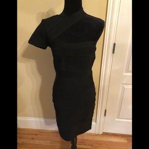 Shail K black bandage one shoulder dress size L